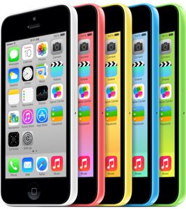 The iPhone 5c in it's five bright colors.