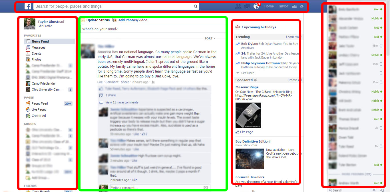 Screenshot of Facebook on Desktop