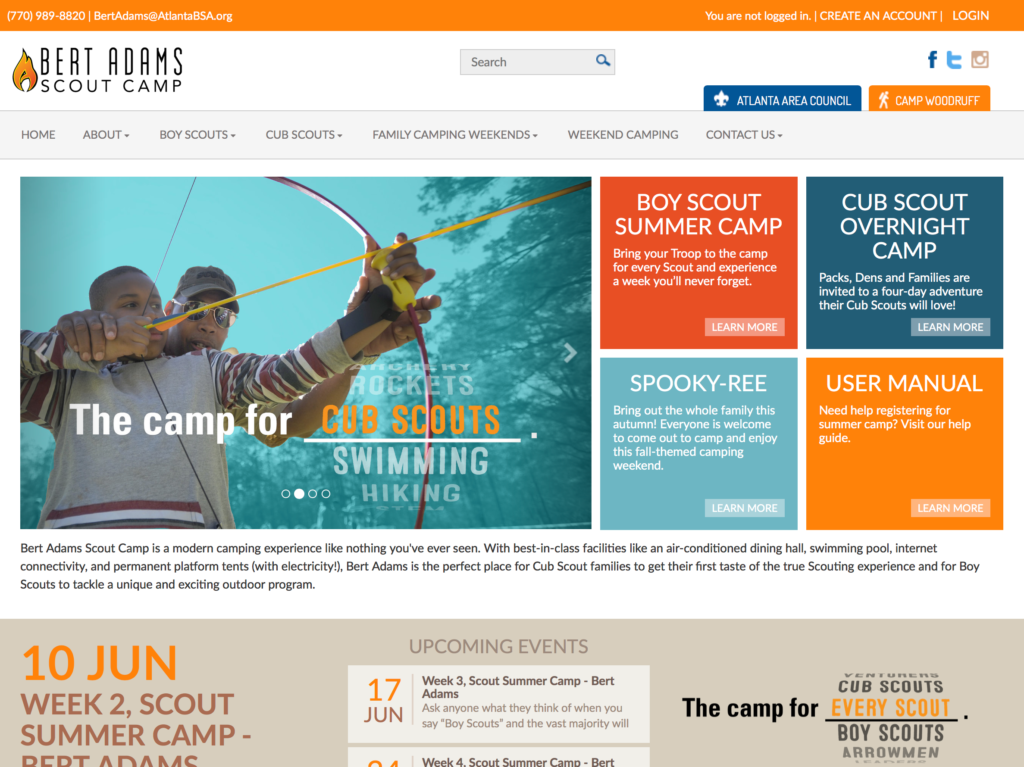 Bert Adams Scout Camp website