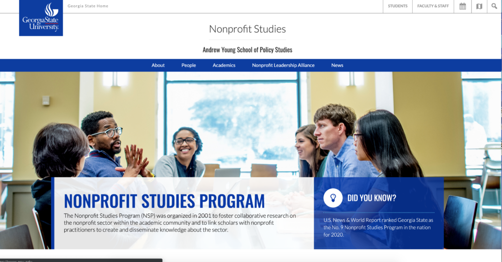 Updated Nonprofit Studies website running WordPress 4.9.8 and a new responsive theme