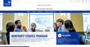 Updated Nonprofit Studies website running WordPress 4.9.8 and a new responsive theme