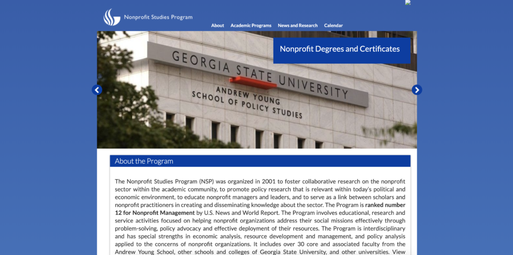 Original Nonprofit Studies Program site running WordPress 3.1