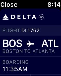 Delta Boarding Pass on my Apple Watch