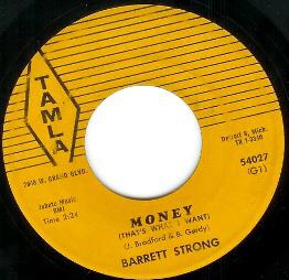 "Original 45 single label for ""Money (That's What I Want)"" by Barrett Strong on Tamla Records"