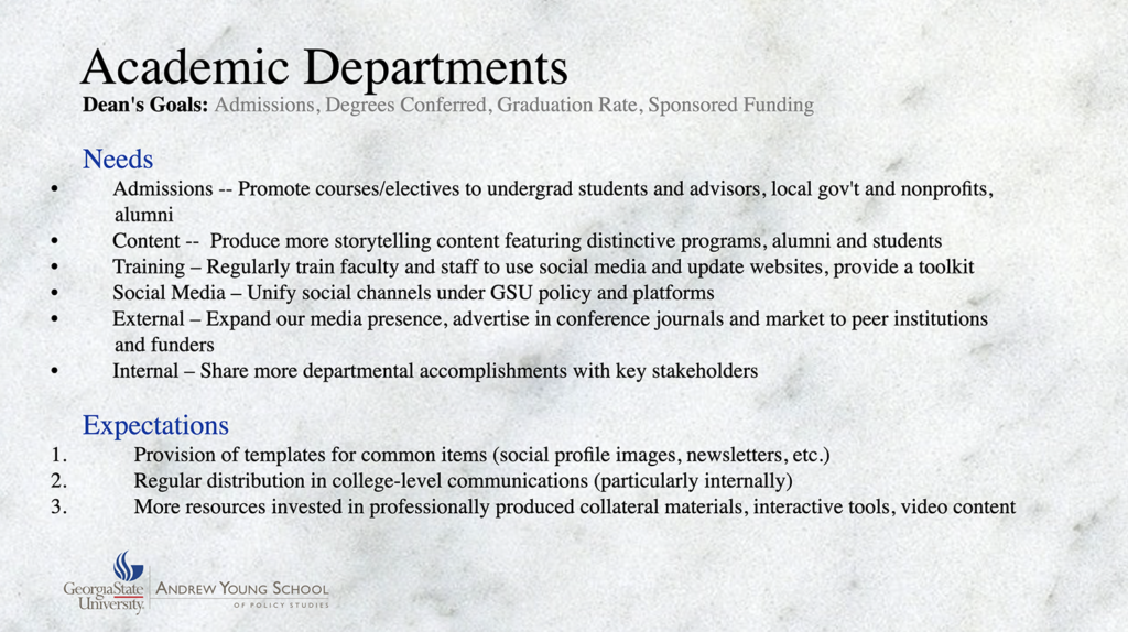 Screenshot of the Andrew Young School Digital Communications Audit Report